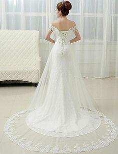 A-line Floor-length Wedding Dress -Off-the-shoulder Lace – USD $ 129.99