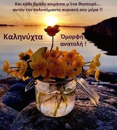 Good Night Wishes, Good Night Quotes, Greek Quotes, Good Morning, Glass Vase, Pictures, Art, Jewerly, Good Night