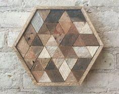 Reclaimed Wood Wall Art Decor Lath Penrose by EleventyOneStudio