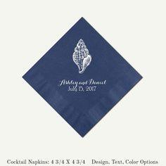 Navy Blue Cocktail Napkins Seashell Design  by PineAndBerryShop