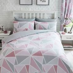 Single duvet cover set includes one single duvet cover and one pillowcase. Double duvet cover set includes one double duvet cover and two pillowcases. King duvet cover set includes one king size duvet cover and two pillowcases. Grey Curtains Bedroom, Slanted Ceiling Bedroom, Pink Bedroom Decor, Small Room Bedroom, Bedroom Ideas, Pink Bedroom For Girls, Girls Bedding Sets, Bed Covers For Girls, Bed In Middle Of Room