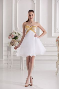 A-Line Sweetheart Satin Organza Knee Length Sequin Color Wedding Dress