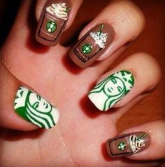 Starbucks nails 17 Incredibly Detailed Nail Art Designs That Nailed It - Calling all white girls! Best Acrylic Nails, Acrylic Nail Designs, Nail Art Designs, Nails Design, Cute Nail Art, Cute Nails, Pretty Nails, Starbucks Nails, Starbucks Coffee