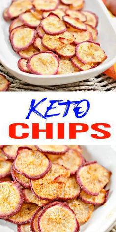 Easy Snacks, Keto Snacks, Healthy Snacks, Easy Meals, Healthy Chips, Keto Diet For Beginners, Recipes For Beginners, Radish Chips, Low Carb