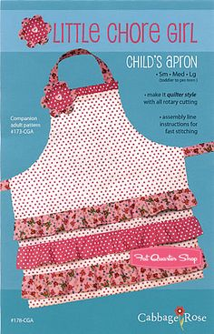 Little Chore Girl Child's Apron Pattern Barbara Brandeburg for Cabbage Rose