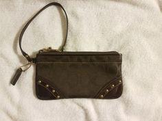 Coach wristlet wallet brown signature c rivets shiny brass