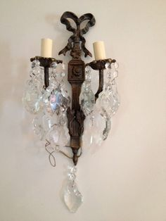 Vintage French shabby sconce crystal