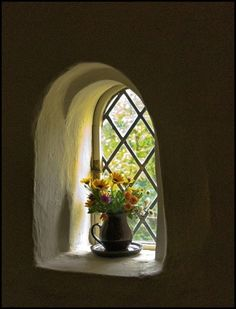 the flowers in the deep-set arched window