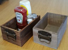 Rustic Wooden Condiment Holder / Storage Crate Box