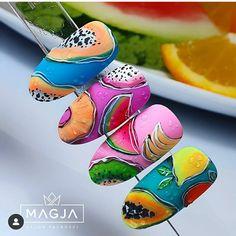 Fruit Nail Designs, Nail Art Designs, Fruit Nail Art, Sea Nails, Diy Acrylic Nails, Watermelon Nails, Nail Art Videos, Nail Decorations, Love Nails