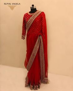Be friend the party glamour wearing this beautiful red colored partywear saree. This saree is crafted on faux georgette fabric and beautified with lovely sequence cording border and lace work. Saree paired with unstitched Banglori silk blouse piece which Indian Bridal Sarees, Bridal Lehenga Choli, Indian Bridal Wear, Dress Indian Style, Indian Dresses, Indian Outfits, Emo Outfits, Stylish Sarees, Stylish Dresses