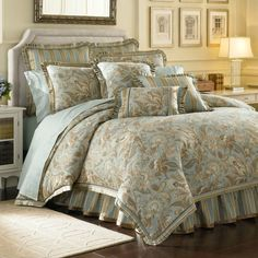 J Queen New York Barcelona Aqua Comforter Sets - Bedding Collections - Bed & Bath - Macy's Aqua Comforter, Queen Comforter Sets, Bedding Sets, Cotton Bedding, Clean Bedroom, Home Bedroom, Bedroom Decor, Master Bedroom, Master Suite