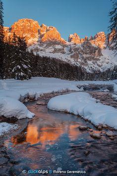 The perfection of nature by Moreno Geremetta on 500px..... #dolomiten #dolomites #dolomiti #enrosadira #mountain #mountain landscape #mountain river #mountains #pala group #pale di san martino #river #snow #sunset #trentino #val venegia #venegia #winter