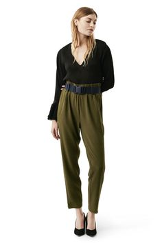 Regular fit trousers with an elasticated  waistband and gently tapered leg.