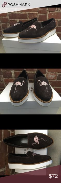 Australia Luxe Collective women shoes 8 Flamingo New in a box Australia Luxe Collective women's lofers size 8   Embroidery flamingo on a front   Bali Espresso   White platform 1.5 platforn   Add some fierceness to your wardrobe with these suede loafers that boast a nature-inspired motif.  Suede upper Leather lining EVA rubber sole Imported Australia Luxe Collective Shoes Flats & Loafers