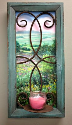 """""""Field of Dreams Window""""  Jack Paluh's image of """"Field of Dreams"""" peeks out from behind this antiqued rod iron scrolled window. A rustic candle holder adds personality to this unique piece. Our """"art through the window"""" dimensions are 21 ¼"""" x 10 ½"""" x 1"""". www.jackpaluh.com Rustic Candle Holders, Field Of Dreams, Nature Artwork, Through The Window, Natural World, Personality, Scenery, Iron, Antiques"""