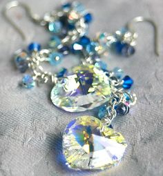Crystal, Blue Swarvoski, and Tanzanite Earrings