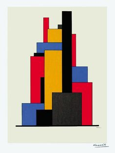 Hungarian Constructionist:  Lajos Kassák (1887-1967) was a Hungarian writer, painter, theorist, collagist, designer, printmaker and draughtsman. He experimented with plastic forms in the spirit of the De Stijl movement, his use of geometric blocks being similar to that of Georges Vantongerloo.