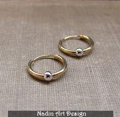 Gold Seamless Hoops. Cartilage, Tragus Piercing from NadinArtDesign by DaWanda.com
