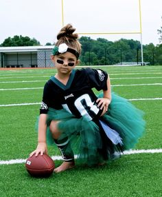 "Why can't a girl just be a football player for halloween? just because a girl wants to be something ""not girly"" for halloween, doesn't mean you have to add a tutu to it Cute Costumes, Halloween Costumes For Girls, Diy Halloween Costumes, Mother Daughter Halloween Costumes, Twin Costumes, Costume Ideas, Daddys Little Girls, My Little Girl, Football Tutu"