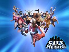 """Promotional wallpaper for """"City of Heroes,"""" a superhero-themed massively multiplayer game released by Cryptic / Paragon Studios for Windows PCs in 2004"""