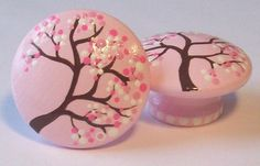 Cherry Blossoms Hand Painted Dresser Drawer Knobs by LeilasLoft, $7.00