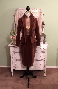 Chocolate Velvet Bohemian Suit, 70s Lilli Ann Skirt Jacket, Couture Suit, Boho Chic Two Piece, Classic Hippie Chic Suit, Womens Small/Medium by SownThreadsClothing on Etsy