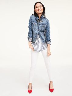 Denim, Stripes, white Jeans, red shoes