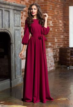 Long woman dress  floor Autumn Winter Spring dress Maxi dress with a belt 3/4 sleeves Evening dress with pockets Elegant maxi dress by Annaclothing on Etsy https://www.etsy.com/listing/261485189/long-woman-dress-floor-autumn-winter