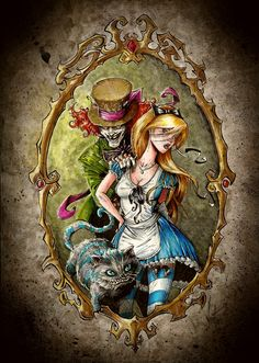 Cats Drawing Tattoo Alice In Wonderland Ideas Dark Alice In Wonderland, Alice In Wonderland Drawings, Arte Horror, Horror Art, Twisted Disney, Fairytale Fantasies, Desenho Tattoo, Gothic Art, Disney Art