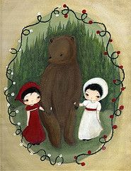snow white and rose red (the poppy tree) Tags: bear trees girls red roses white snow tree art girl animal rose fairytale forest painting print vine prince story fairy fir thorn tale thepoppytree
