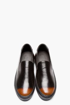 ALEXANDER MCQUEEN Tan & leather embossed slip-on loafers