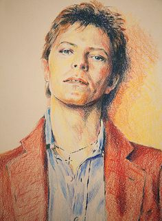 'BY THE WALL' - David Bowie 1977, 'Heroes' period. Berol Prismacolor colour…