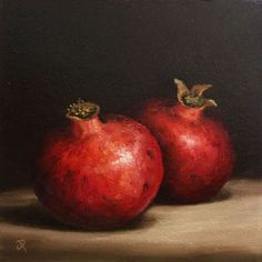 ARTFINDER: Pomegranates by Jane Palmer - This is an Original oil painting, painted alla prima from life. Canvas board size -approx 8 x 8 inch (20 x 20cm ) Painted on 3mm thick canvas board. ...