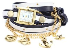 La Mer Collections Women's LMCW7004 Portofino Gold Charm Chain Wrap Watch: Watches: Amazon.com