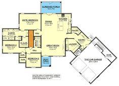 Ultimate Open Concept House Plan with 3 Bedrooms - 51776HZ floor plan - Basement Option