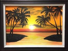 Painting a Summer Beach Landscape with Acrylics in 10 Minutes! Acrylic Painting Lessons, Acrylic Painting Tutorials, Acrylic Painting Canvas, Beach Scene Painting, Painting Clouds, Bob Ross, Step By Step Painting, Arte Pop, Learn To Paint
