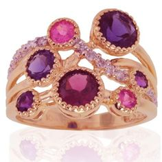 Amazon.com: 10k Rose Gold Rhodolite, Amethyst, Iolite and Diamond Ring (0.06 cttw, I-J Color, I1 Clarity): Jewelry