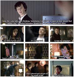 Reality: Sherlock considers playing violin and not talking his worst habits. That makes total sense, since he is Sherlock. Sherlock Holmes Bbc, Sherlock Fandom, Sherlock John, Sherlock Humor, Sherlock Quotes, Mrs Hudson, Sherlolly, Arthur Conan Doyle, 221b Baker Street