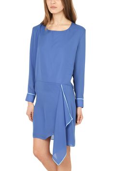 fc89ab25e267 Stunning Acne Studios Adelle Tape Dress in blue features draped front
