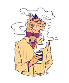 a business cat and a coffee © gato-Iberico