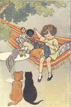Vintage 1927 Childrens Print By S.B. Pearse Young Girl Sitting In Striped Hammock Sewing Watched By Black Cat Terrier Dog Toys Book Plate