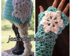 Frozen's Elsa Inspired Hat and Fingerless Gloves Set