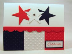 Patriotic card Independence Day of July fourth of July card American celebration handmade 4th Of July Party, Fourth Of July, Independence Day Card, Military Cards, Military Quotes, Retirement Cards, Handmade Birthday Cards, Card Sketches, Color Card