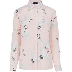 Warehouse Silk Bird Print Blouse ($94) ❤ liked on Polyvore featuring tops, blouses, pink, silk blouses, bird print top, pink silk shirt, pink collared shirt and pink silk top