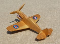 Wooden P-40 Fighter 'Flying Tiger' Toy Plane by WoodworksByJim