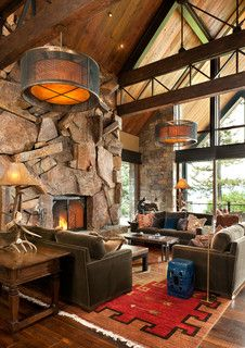 Montana Antique - rustic - living room - other metro - by Montana Rockworks, Inc