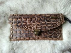 CROCODILE PRINT LEATHER WALLET STUDDED POUCH, Wristlet Woman Wallet, Croc Embossed Pouch, Gucci Animal Print Studded Clutch, Croc LEATHER Wallet Clutch Bag In a high quality cowhide embossed with a crocodile look tan Amazing leather that contrasts with studs color AGED GOLD Two interior pockets and cards compartments. Eaily fits a phone, keys, small wallet, lipsticks...