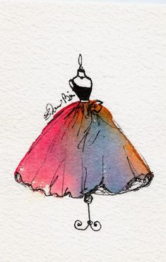 Elaine Biss: 30 Watercolors in 30 Days: Romantic Gown Watercolor Fashion Illustration