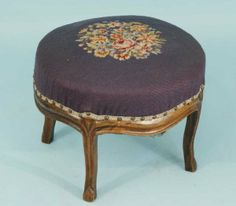 Antique Needlepoint Footstools | 173: ANTIQUE FRENCH FOOTSTOOL IN NEEDLEPOINT UPHOLSTERY